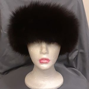 Dark brown fox fur Headwrap